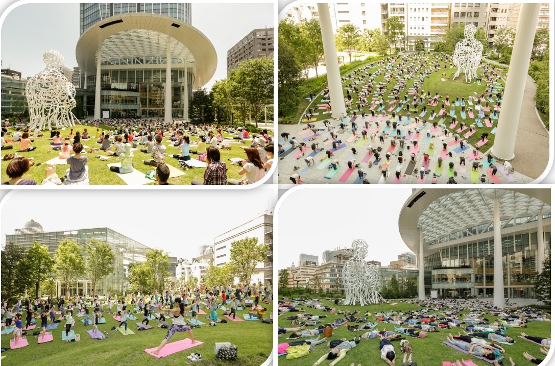 "「虎ノ門ヒルズで青空ヨガ」(OUR PARKS ""TORANOMON HILLS YOGA"")(article by amuzen)"