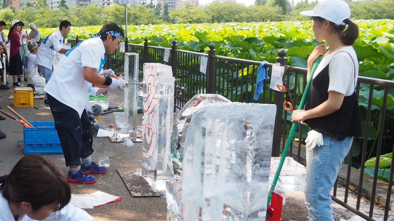 ueno natsu matsuri うえの夏まつり 氷の彫刻