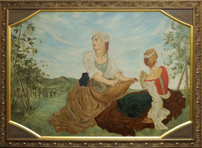 藤田嗣治『葡萄畑の女性』(1935年 油彩・キャンバス、提供:内閣府迎賓館)