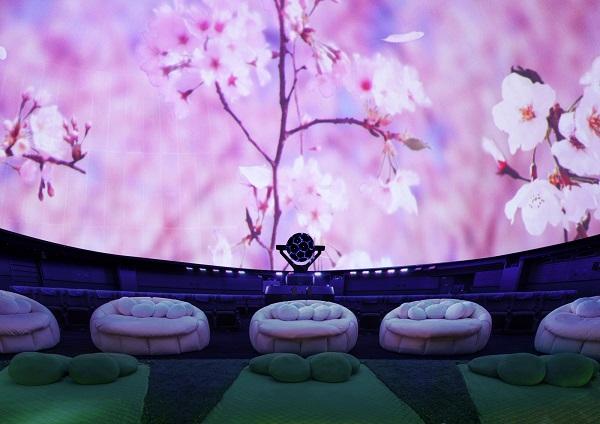 「プラネタリウムに満開の桜!桜ウェルカムドームでお花見気分。」
